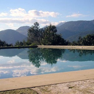 The infinity pool looking across the mountains